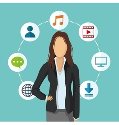 businesswoman human resources icon graphic vector image