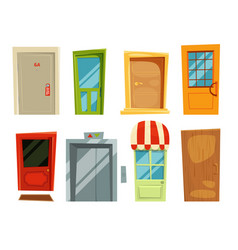 decorative doorway and different retro doors in vector image