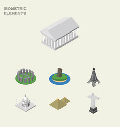 isometric travel set of rio paris athens and vector image vector image