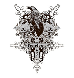 Skull with raven vector