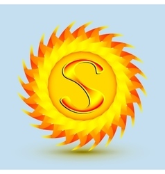 The logo is a sun with the letter S vector image