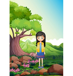 A young lady in the forest vector image