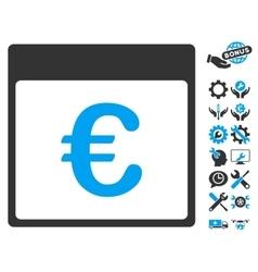 Euro Currency Calendar Page Icon With Bonus vector image vector image