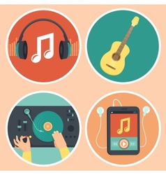 music icons and signs in flat style vector image vector image