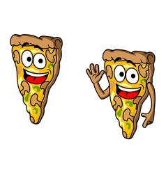 Pizza slice in cartoon style vector image vector image