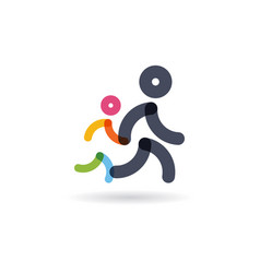 family run race colorful runnerslogo for running vector image