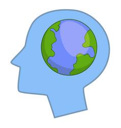 Globe in human head icon cartoon style vector