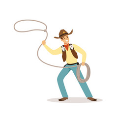 man in american traditional costume with lasso vector image vector image