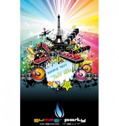 Paris disco event background vector image vector image