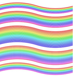 Striped rainbow waves - design element set vector image vector image