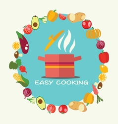 Cooking flat style background with pan vector image