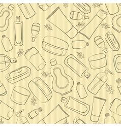 Cosmetics doodle seamless vector image