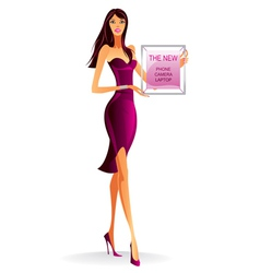 Fashion model with advertising poster vector image vector image