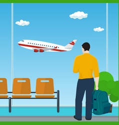 man looking out the window on a flying airplane vector image