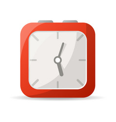 red analog clock icon vector image vector image