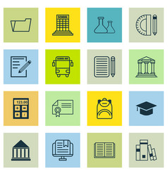 set of 16 school icons includes e-study paper vector image vector image