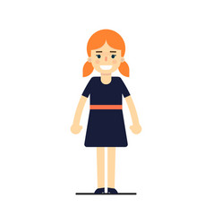 young redhead girl in blue dress vector image vector image