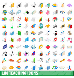 100 teaching icons set isometric 3d style vector