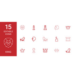 15 king icons vector image