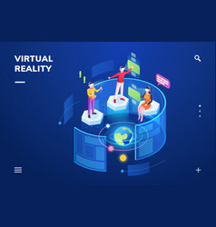 3d people using virtual reality or vr vector
