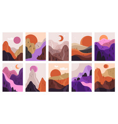 abstract landscapes mountains and river vector image