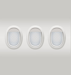 airplane windows inside realistic plane windows vector image