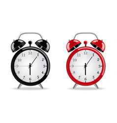 alarm clock realistic red and black clocks vector image
