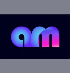 am a m spink blue gradient alphabet letter vector image