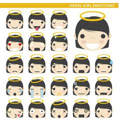 Angel girl emoticons vector