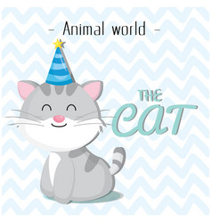 animal world the cat wearing a party hat backgroun vector image