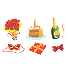 Anniversary party attributes birthday or wedding vector