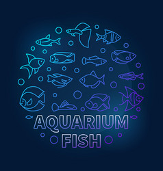 aquarium fish in circle shape blue vector image