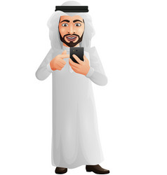 arab businessman holding a mobile phone vector image