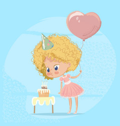 Baby girl blowing birthday cake candle cute blond vector