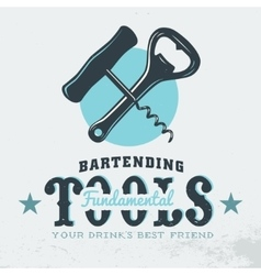 Bartender Profession Print Design Corkscrew vector