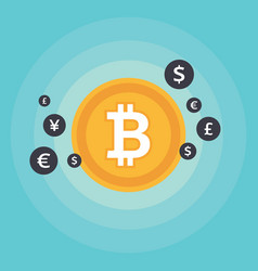 bitcoin symbol and sign of other currencies vector image