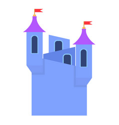 Blue castle towers with flags icon cartoon style vector