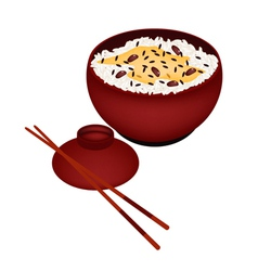 Bowl of Rice Boiled with Red Beans vector