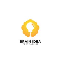 Brain and light bulb logo design template vector