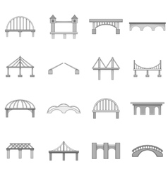 Bridge construction icons set monochrome style vector image