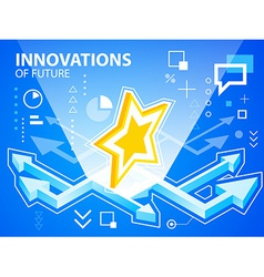 Bright arrows and star on blue background fo vector