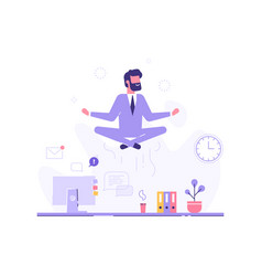 businessman doing yoga in office over desk vector image