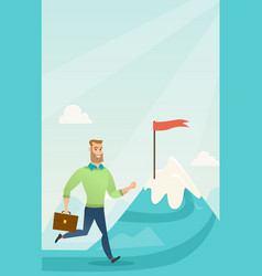 businessman running to his business goal vector image