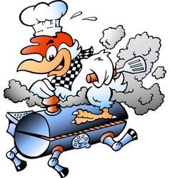 Cartoon an chef chicken riding a bbq grill vector