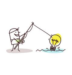 Cartoon man fishing a lightening bulb vector