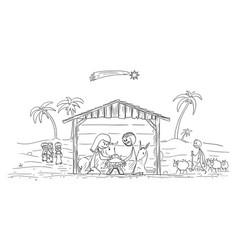 cartoon nativity scene bajesus mary and vector image