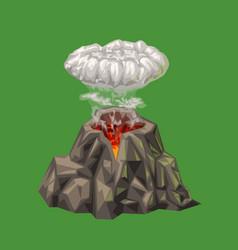 Cartoon volcano isolated on green vector