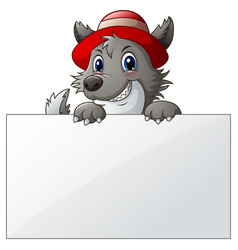 Cartoon wolf with blank sign vector