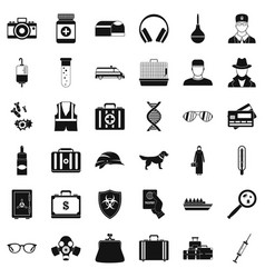Case icons set simple style vector