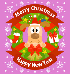 christmas and new year background card with dog vector image